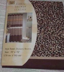 NIP Leopard Print Fabric Shower Curtain
