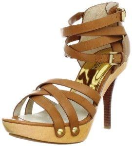 Womens Michael Kors Leonia Platform Sandals Strappy Heels Luggage Tan