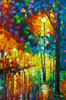 Leonid Afremov Gorgeous Original Oil Painting on Canvas Beautiful Park