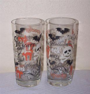 Libbey Glass Halloween 4 Spooky Cat Bat Tumblers Coolers Glasses