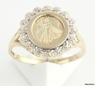 Eagle Copy Coin Genuine Diamond Ring   10k Yellow Gold Lady Liberty