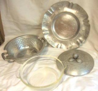 Vintage Everlast Hammered Aluminum Casserole Farber Shlevin Underplate
