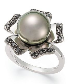 Cultured Tahitian Pearl (11 13mm) and Black Diamond Accent Flower Ring