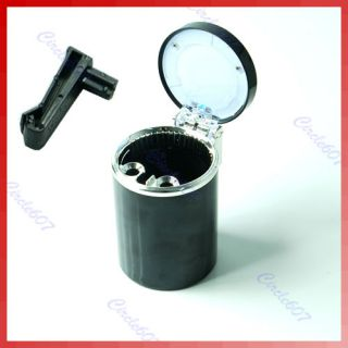 Portable Auto Car LED Light Cigarette Ashtray Holder Black