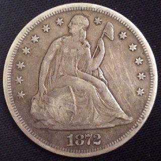 1872 Seated Liberty Silver Dollar Nice Even Wear