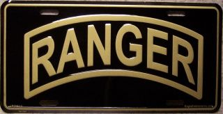 Aluminum Military License Plate Army Ranger Tab New