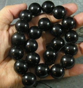 Natural Jet Loose Beads Lignite Big 18mm Round Gemstone 16 Top