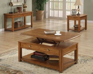 New 2pc Casual Lift Top Brown Wood Coffee End Table Set