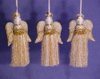 Lillian Vernon Beaded Angel Christmas Ornaments Beautiful 3 Piece Set