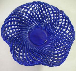 Lillian Vernon Ceramic Candle Holder Cobalt Blue Pedestal Stand