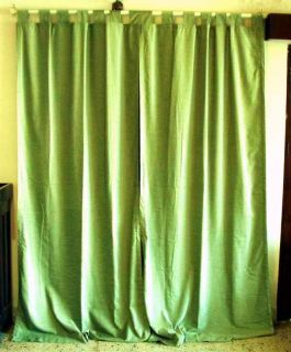 Olive Green Velvet Curtains Drapes Panels with Tab