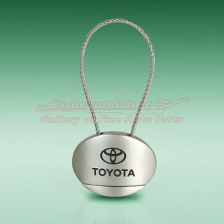 oval pendant with steel cable key ring laser engraved toyota logo