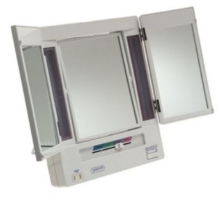Jerdon JGL9W 5X Tri Fold Makeup Lighted Mirror