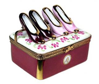 Authentic Limoges Box 2 Pair of Shoes in Floral Display Case