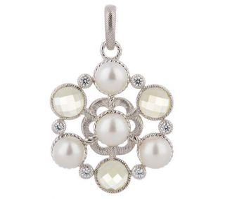 Ripka Sterling Silver Pearl Limon Quartz Enhancer Pendant