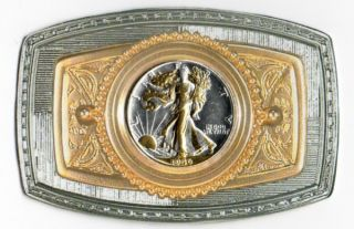 Gold on Silver Walking Liberty U.S. Half Dollar Whole Coin Belt Buckle