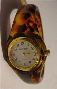 Lillian Vernon, vintage, Lucite, tortoise shell, bangle bracelet watch