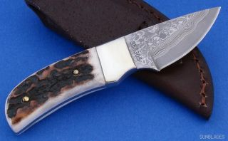 Linder Knife Stag Damascus Hunter Skinner Fixed Blade