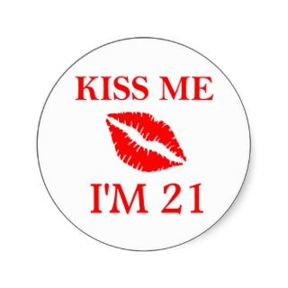 21st Birthday Kiss Sticker