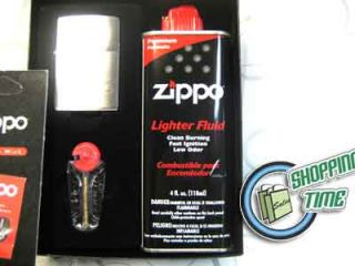 Zippo Gift Set Fluid Lighter Flints Flint Wick Wicks Brushed Finish