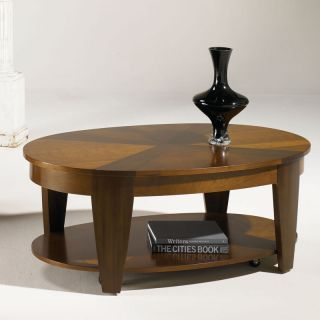 Medium Brown Oval Lift Top Coffee Table