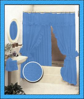New Double Swag Fabric Shower Curtain Set Light Blue Valance