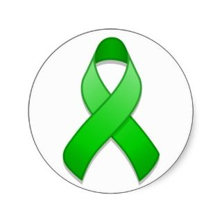 Green Awareness Ribbon Round Sticker