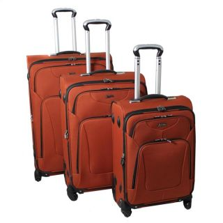 Hassle Free Lightweight 3 Piece Expandable Spinner Luggage Set   Rust