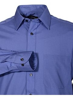 Double TWO Classic plain long sleeve shirt Dark Blue