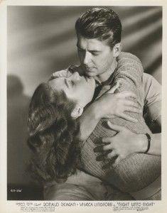 NIGHT ORIG STILL VIVECA LINDFORS RONALD REAGAN GREAT KISSING SHOT