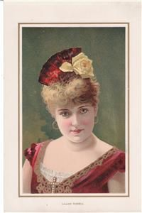 1888 Duke Cigarette Lillian Russell Actress 7x11 Litho