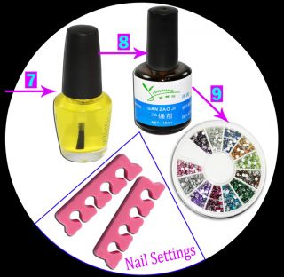 34PCS PROFESSIONAL CRYSTAL ACRYLIC NAIL ART UV POWDER FULL SET