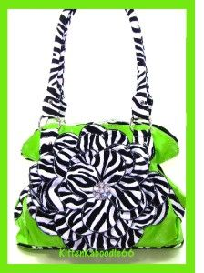 Lime Green Zebra Animal 3D Flower Kiss Lock Shoulder Bag Purse Handbag