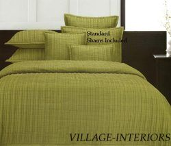 Contemporary Lime Green Hotel Broadway Queen Quilt Set