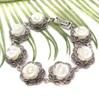 Carved White Rose Marcasite Link 925 Silver Bracelet