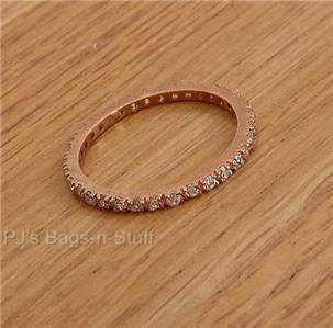 Lisa Freede Thin Rose Gold Crystal Eternity Ring New Sz 8