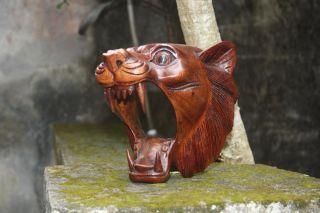 Lion Head Statue Bali Wood Carving Animal Art Original Sculpture