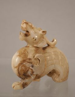 Antique Chinese White Jade Dragon Winged Lion Pixiu Qilin Carving