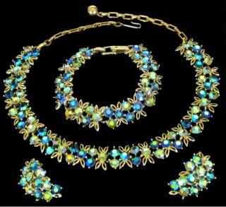 Vintage 3 PC Lisner Blue AB Rhinestone Necklace Earrings Bracelet EX
