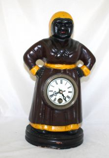 Antique Iron 8 Day Clock Servant Lady USA Circa 1930