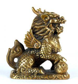 Bronze Qilin Ball Statue Ki Lin Chinese Unicorn Kirin Feng Shui Lucky