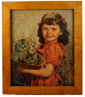 Vintage Birch Framed Print Girl w Kittens 8 ½ by 10