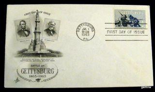 Gettysburg 1963 First Day Cover Abraham Lincoln Jefferson Davis