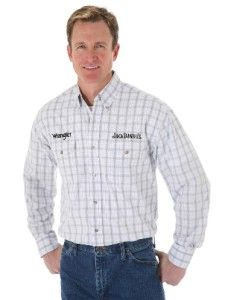 MJD222M Wrangler Mens Grey White Plaid Jack Daniels L s Shirt