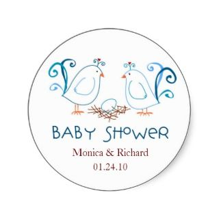 Lovebirds and Nest Baby Shower Favor Tags Round Sticker