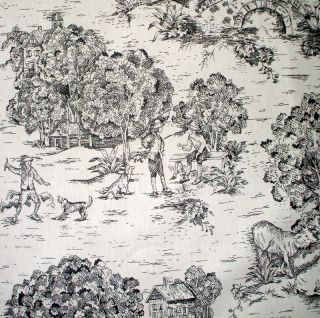 New 2 French Country Toile Black 96 Curtain Panels Cotton