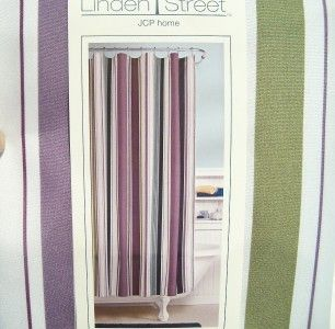 Hudson Stripe Olive Green Purple Blue WT Shower Curtain