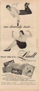 1955 Lindt Swiss Milk Chocolate Vintage Candy One Heavenly Taste Ad
