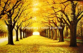 Hand Painted Canvas Oil Painting 36x24 Landscape Golden Autumn