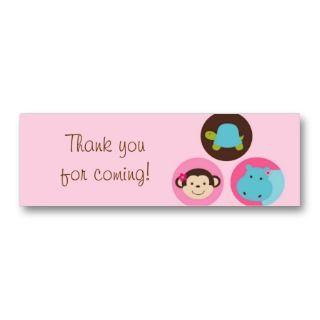 Girl Dot Safari Jungle Animal Favor Gift Tags Business Card Templates